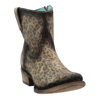 Corral Boots - Leopard Print Round Toe Ankle Boots
