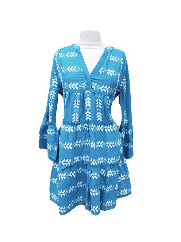 Arrow Print Dress - White & Blue