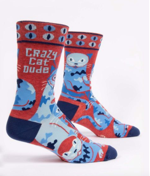 Crazy Cat Dude Men's Socks by Blue Q