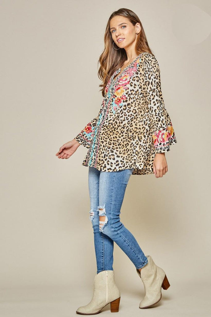Christina Leopard Embroidered Blouse
