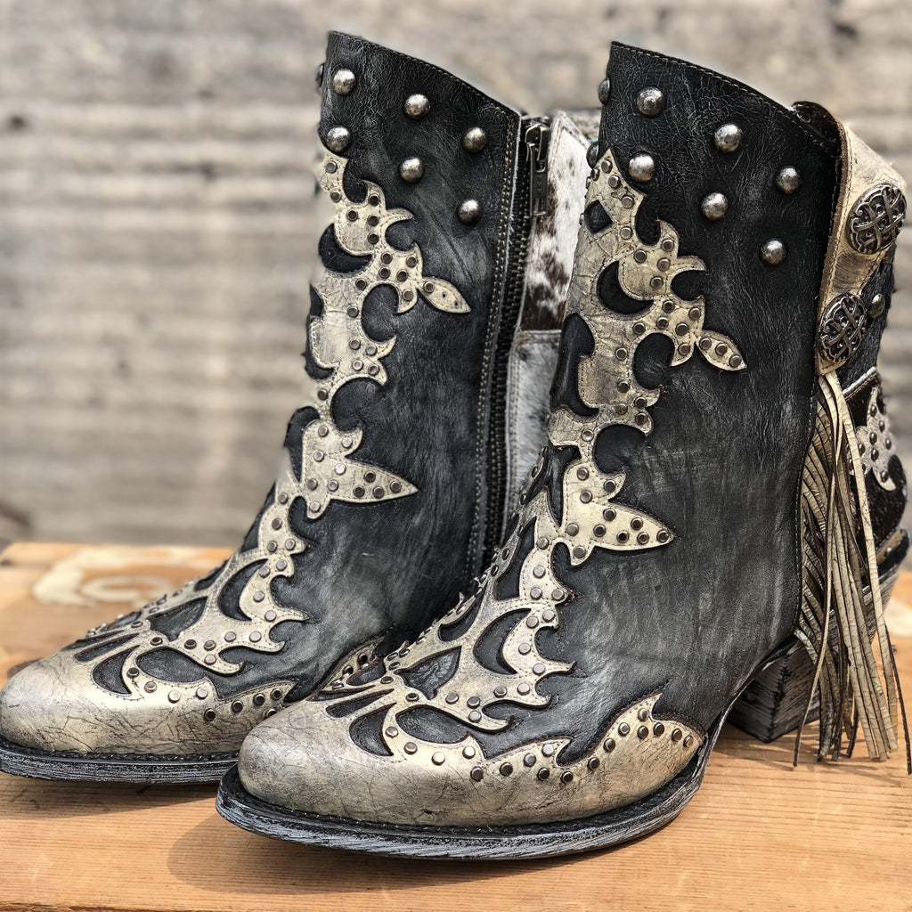 Corral Boots - Black Ankle Boots w/Fringe, Conchos, & Studs