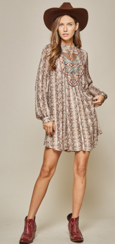 Curvy Girl Snake Print Embroidered Dress