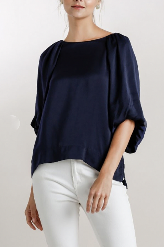 Navy Bubble Sleeve Blouse