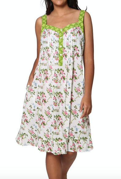 Green Floral Cotton Chemise Dress Pajama Gown Button Up