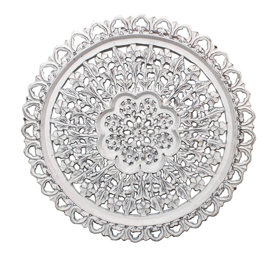 White Wooden Mandala Wall Art