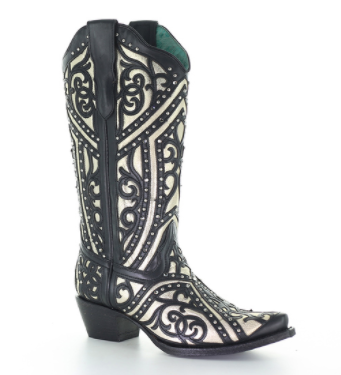 Corral Boots - Black w/Silver Inlay & Studs