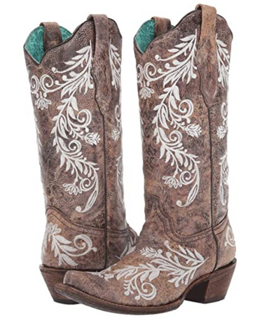 Corral Boots - Brown w/White Glow in the Dark Embroidery