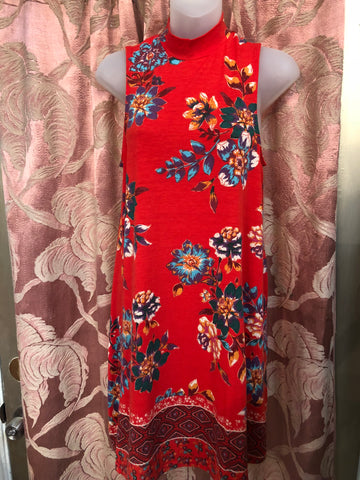 Red Floral Mock Turtleneck Swing Dress *SALE*