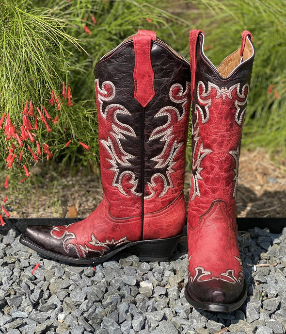 Red & Black w/Cream Embroidery Boots