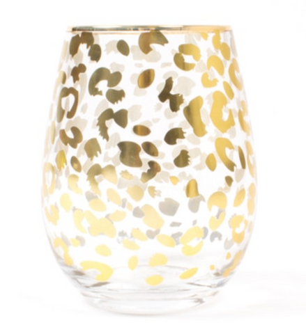 Leopard Print Stemless Wine Glass