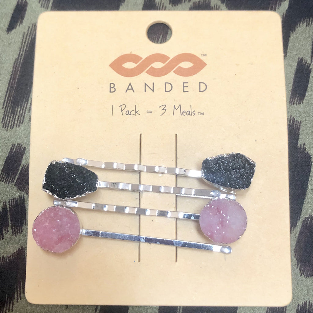 Pink/Black Druzy Hair Pin Set