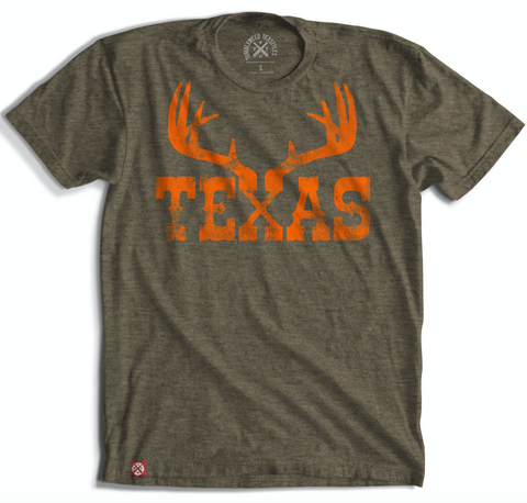 Texas Antlers Olive T-Shirt