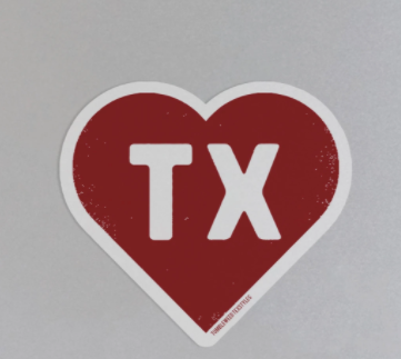 TX Heart Sticker by Tumbleweed TexStyles