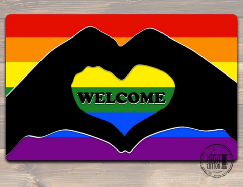 Rainbow Welcome Pride Door Mat