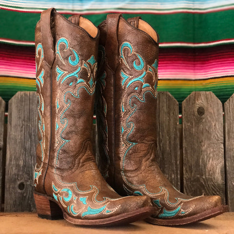Corral Brown/Turquoise Side Embroidery L5193
