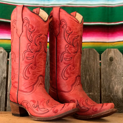 Corral Boots - Red w/Red & Black Embroidery