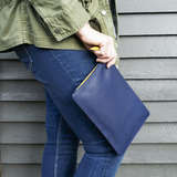 Leather Clutch - Navy & Sunflower