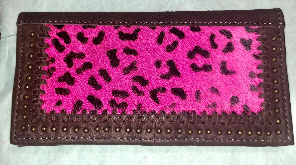 Pink Leopard Studded Calf Hair Leather Wallet