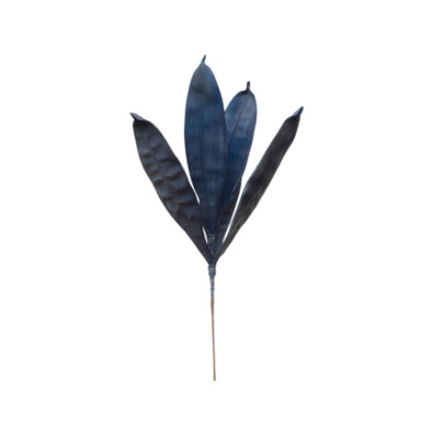 Faux Reed Leaf Stem Navy