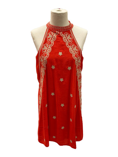 Red Halter Embroidered Dress