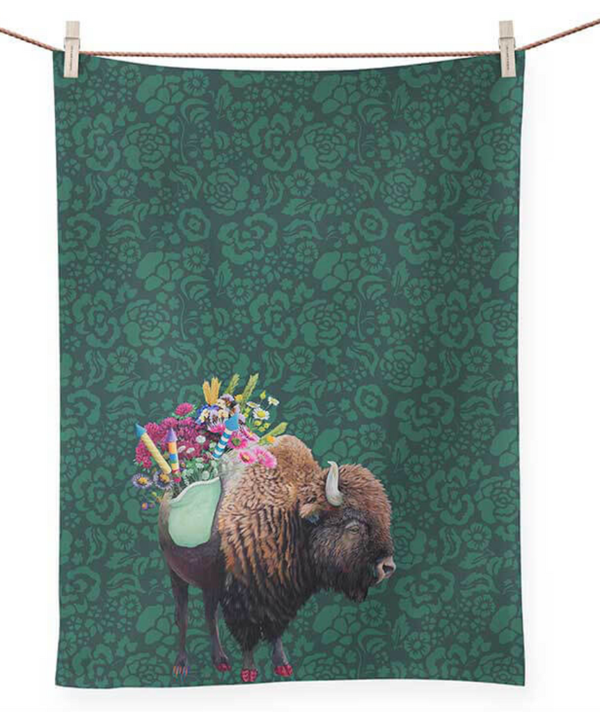 Celebratory Bison Tea Towel
