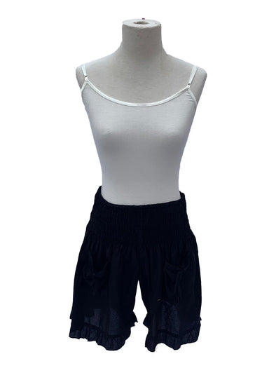 Black Cotton Ruffle Shorts