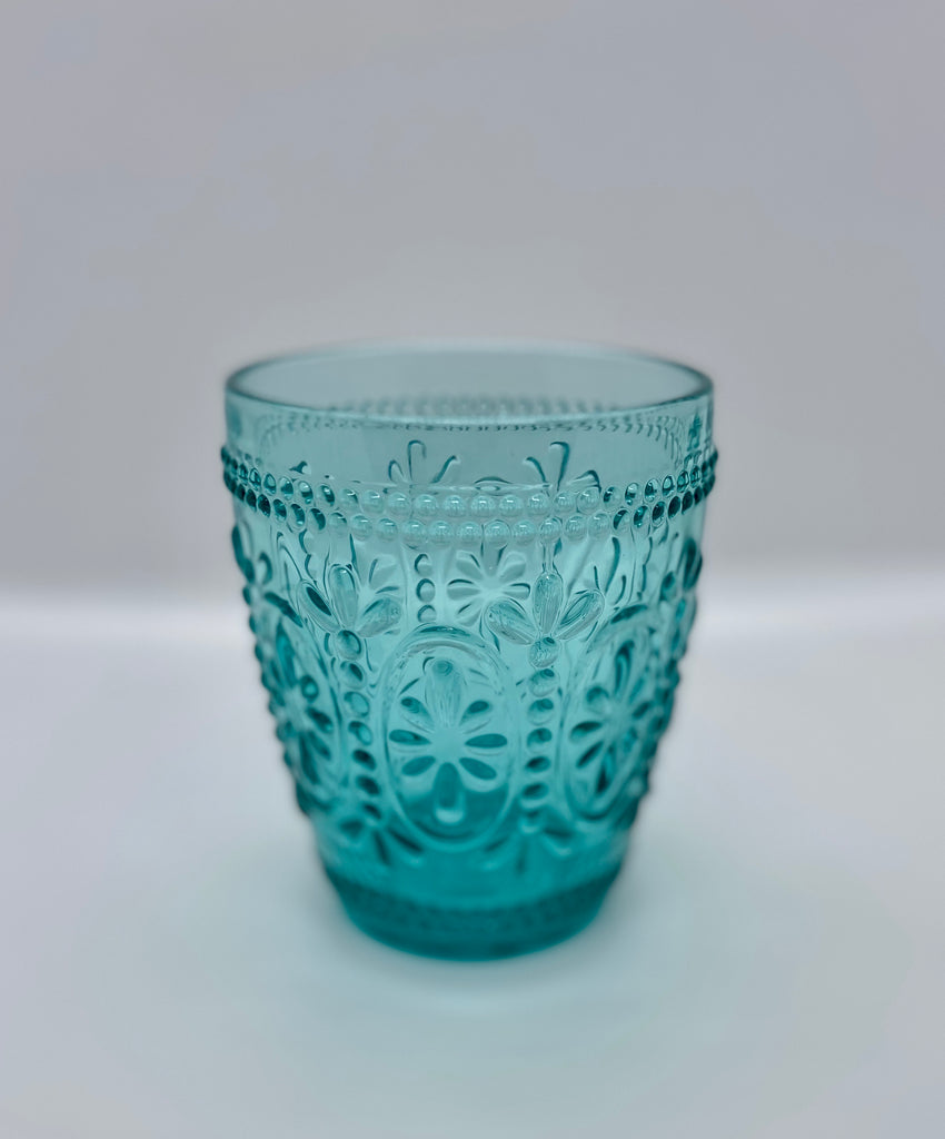 Turquoise Cut Glass Cup