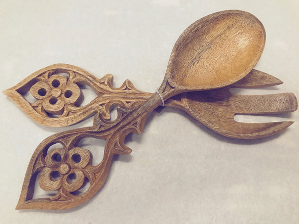 Carved Wooden Salad Server Set