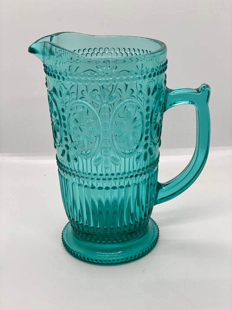 Turquoise Cut Glass Pitcher