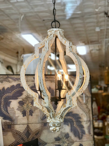 Large Distressed White Wood Chandelier