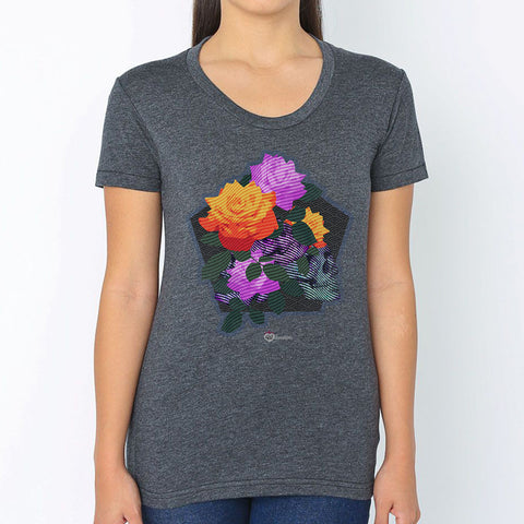 Rose & Skull Melange T-Shirt – Womens