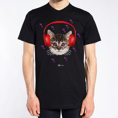 Headphones Pixel Kitty T-Shirt – Mens