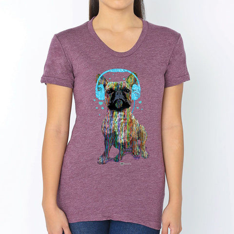 French Bulldog Rocking Headphones T-Shirt – Womens