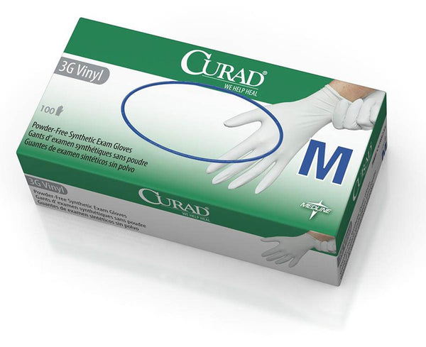 CURAD Powder-Free Latex-Free 3G Vinyl Exam Gloves - Price per 100: $3.99