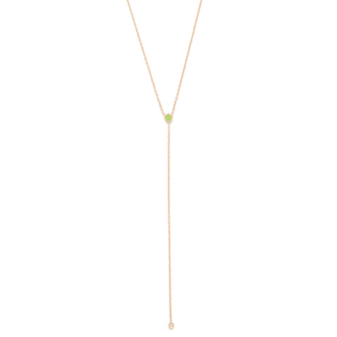 August Birthstone Peridot Lariat Necklace