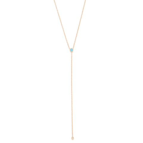 December Birthstone Blue Topaz Lariat Necklace