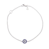 Rhodium plated Sterling Silver Evil Eye Bracelet | Belle Jewelry