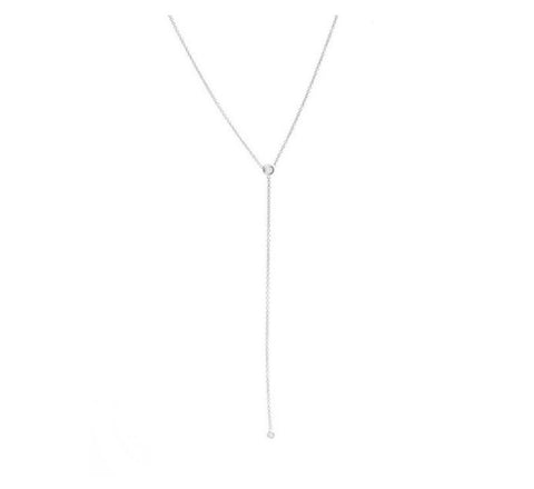 One Stone Lariat Necklace - White Gold