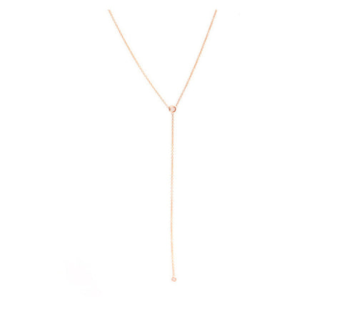 One Stone Lariat Necklace - Rose Gold