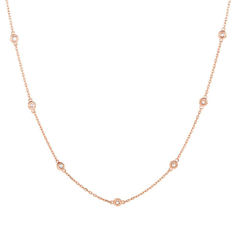 Multi Stone Choker - Rose Gold