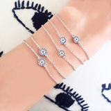 Evil Eye Bracelet - White Gold