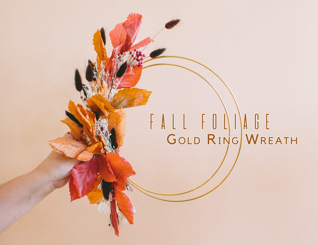 Gold Ring Wreath with Fall Foliage Tutorial