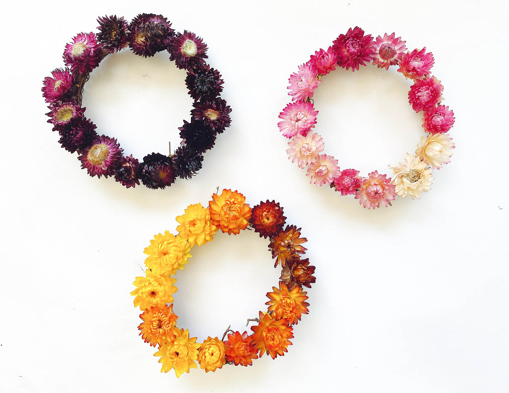 straw flower dried wreath yellow orange pink red maroon