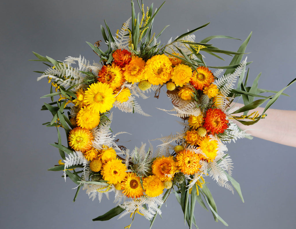 straw flower dried wreath yellow orange pink red maroon eucalyptus green grey gray