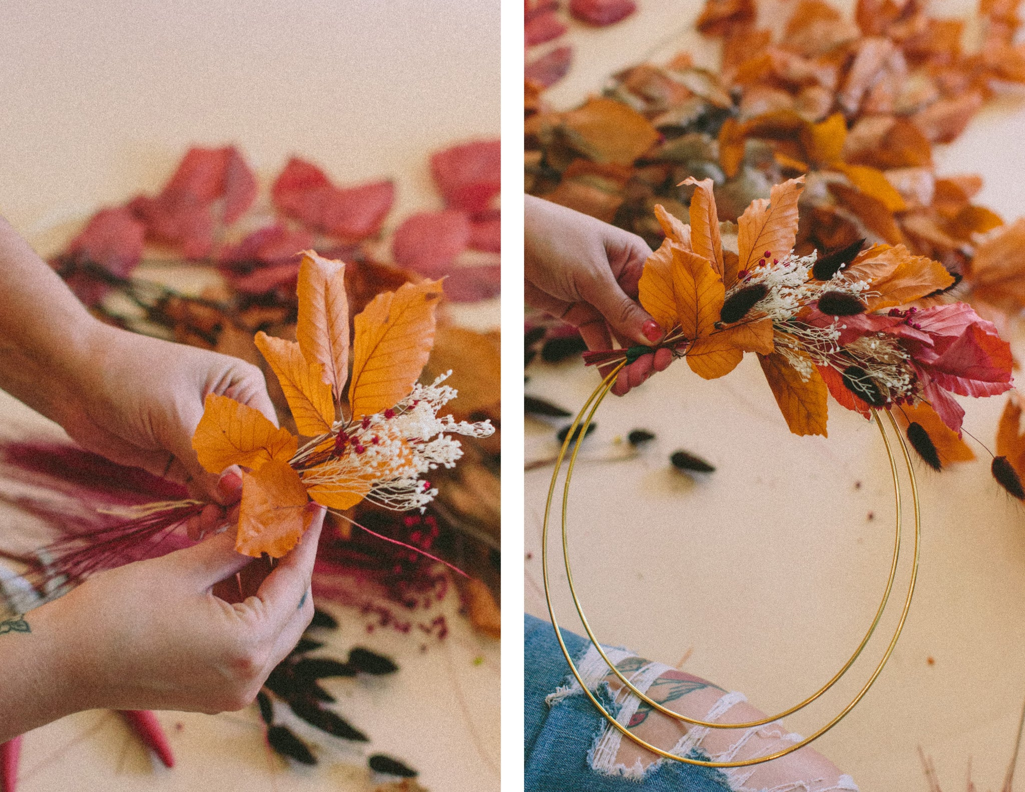 Wildflora Gold Ring Wreath with fall Foliage Tutorial  photo by © Valerie Noell 2019