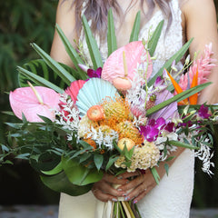 chris kristine tropical lush wedding bouquet pop art teal orange pink coral