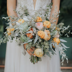 peach pastel lisa ron wedding bouquet rose wildflora