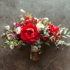 gavin megan wedding bouquet christmas red peony
