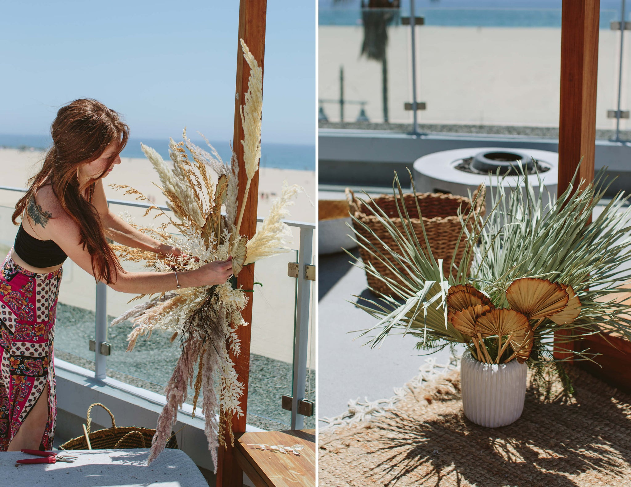 12th Tribe Rooftop Summer Boho Beach Dreams Event | Photographer @theeternalchild | The Eternal Child Sashi Venice Wildflora Los Angeles florist Ventura Blvd Studio City California Original Farmers Market The Grove flower delivery bouquet floral event special color palette neutral beige sand sand brown pale light pastel pink green gold maroon dried muted white ceramic planter pottery container woven basket pampas grass black palm fan variegated rug fire place redhead shoulder tattoo installation