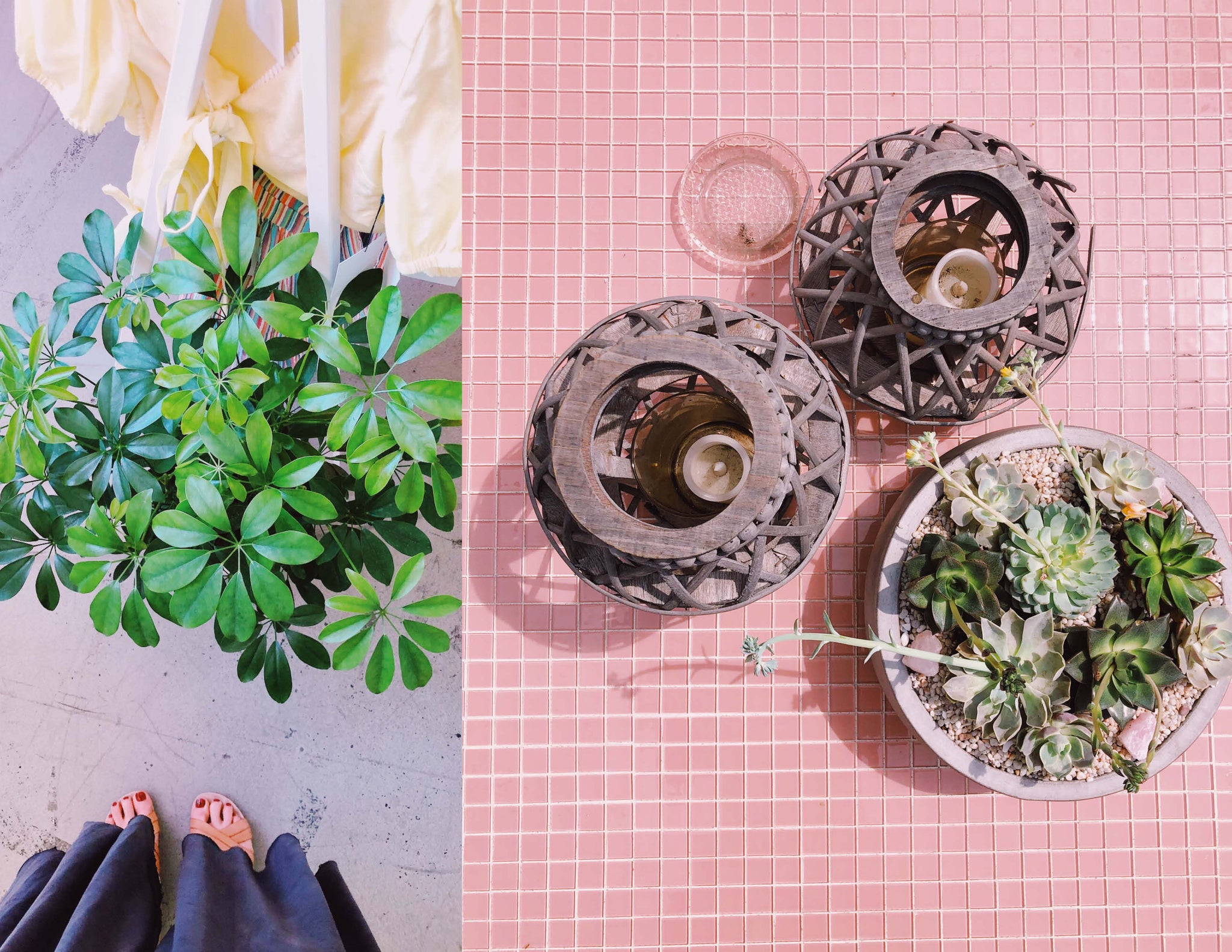 © Wildflora Nike x Revolve Pop-Up Event Los Angeles florist Ventura Blvd Studio City California Original Farmers Market The Grove delivery floral bloom plant arrangement color palette pastel light pale pink green tree white ceramic custom ceramic planter pot container clothes display bright fun alive cute hipster flat lay pink glass tile candle wood earthy holder succulent concrete bowl umbrella tree from above  summer happy cheerful 2019